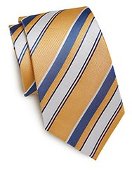 Yves Saint Laurent Multistriped Silk Tie Yellow