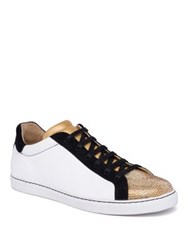 Rene Caovilla Crystal Embellished Leather And Suede Low Top Sneakers White Black Gold