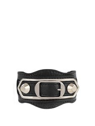 Balenciaga Classic Metallic Edge Leather Bracelet Black
