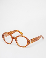 Asos Handmade Round Optical Glasses With Chunky Arms Tort