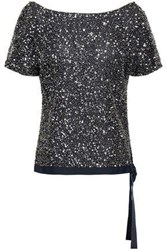 Jenny Packham Woman Embellished Tulle Top Midnight Blue
