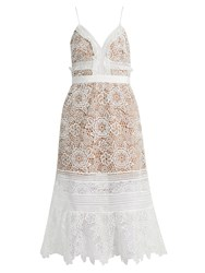 Self Portrait Floral Blush Guipure Lace Midi Dress White