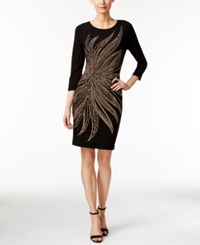 Calvin Klein Three Quarter Sleeve Studded Bodycon Dress