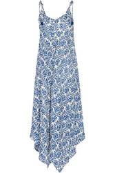Chelsea Flower Fabienne Asymmetric Printed Voile Maxi Dress Royal Blue