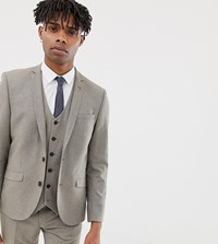 Heart And Dagger Slim Suit Jacket In Wool Stone