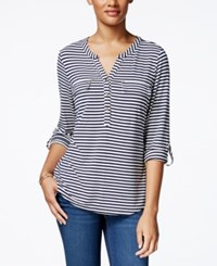 Charter Club Striped Henley Top Only At Macy's Intrepid Blue Combo