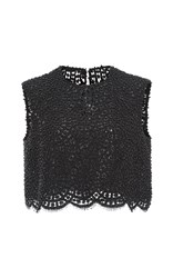 Costarellos Pearl Embroidered Sleeveless Top Black