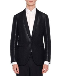 Lanvin Sequin Shawl Collar Evening Jacket Black
