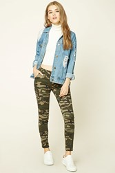 Forever 21 Zippered Camo Print Pants Olive Brown