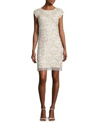 Aidan Mattox Cap Sleeve Beaded Damask Cocktail Dress Champagne