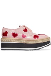 Prada Appliqued Leather Platform Brogues Pastel Pink