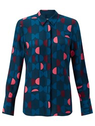 Jigsaw Oval Geo Silk Blouse Blue