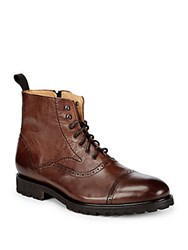 Saks Fifth Avenue Made In Italy Lace Up Leather Boots Brown