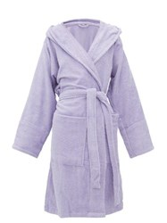 Tekla Fabrics Hooded Cotton Terrycloth Bath Robe Purple