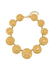Christian Dior Vintage Circle Pendant Necklace Gold