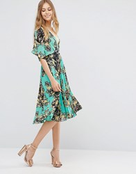 Asos Pleated Kaftan Midi Dress In Turquoise Floral Multi
