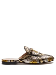 Gucci Princetown Jacquard Backless Loafers Black Gold