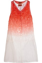 Missoni Embellished Silk Organza Mini Dress Red