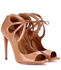Aquazzura Syrah 105 Leather Sandals Brown