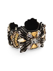 Deepa Gurnani Warrior Austrian Crystal And Suede Bracelet Gold Multi