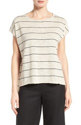 Eileen Fisher Women's Stripe Linen And Cotton Boxy High Low Top