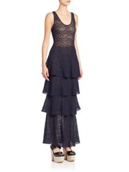 Stella Mccartney Lace Racerback Tiered Gown Dark Blue