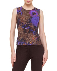 Akris Enchanted Floral Print Sleeveless Top