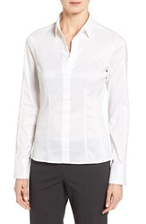 Boss Women's 'Bashina' Stretch Poplin Shirt White