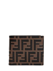 Fendi Ff Embossed Leather Classic Wallet Brown Black