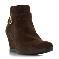 Linea Ordlie Trim Wedge Ankle Boots Tan