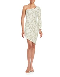 Julian Joyce Beaded Lace One Shoulder Dress Cream