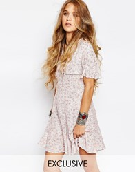 Reclaimed Vintage Button Front Mini Tea Dress With Ruffle Detail In Ditsy Print Pink