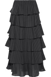 Caroline Constas Margi Picot Trimmed Tiered Cotton Voile Midi Skirt Black
