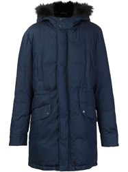 Yves Salomon Padded Fur Trim Jacket Blue