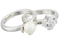 Cole Haan Cream Stack Ring Set Rhodium Fwp Cz Ring Silver