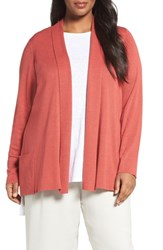 Eileen Fisher Plus Size Women's Tencel Lyocell Blend Shawl Collar Cardigan Persimmon