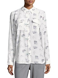 Equipment Silk Point Collar Casual Button Down Shirt Bright White Multicolor