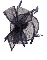 Giovannio Bow Accented Fascinator Headband Navy Blue