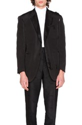 Thom Browne Silk Faile Double Breasted Distressed Jacket In Black