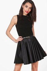 Boohoo Eva Satin Full Woven Skater Skirt Black