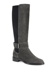 Aquatalia By Marvin K Giada Suede Flat Riding Boots Black Dark Grey