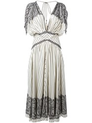 Etro Stripe And Paisley Midi Dress White