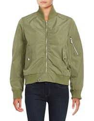 French Connection Zip Front Bomber Jacket Olive
