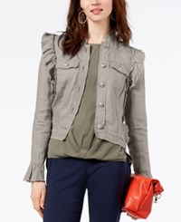 Inc International Concepts Ruffled Linen Jacket Created For Macy's Beige