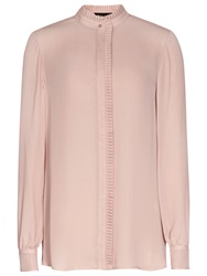 Reiss Felton Pleat Detail Blouse Pink Chalk