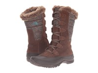 The North Face Nuptse Purna Dark Earth Brown Storm Blue Women's Cold Weather Boots