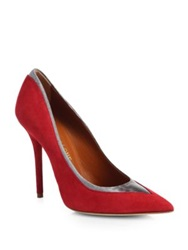 Malone Souliers Snakeskin Trimmed Suede Pumps Red