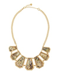 Lydell Nyc Rhinestone Mother Of Pearl Golden Bib Necklace