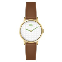 Orla Kiely Luna Leather Strap Watch Brown Silver