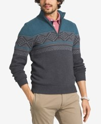 G.H. Bass And Co. Men's Geometric Colorblocked Quarter Zip Sweater Deep Teal Heather